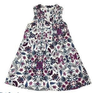 Old Navy Floral V-Neck Sleeveless Pleated Dress